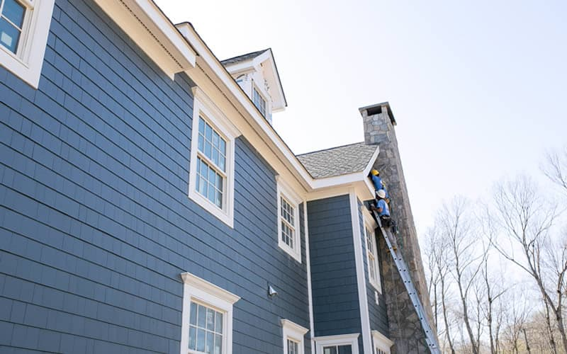 "Westchester, NY (Side View) -  James Hardie siding (""Evening Blue"")"