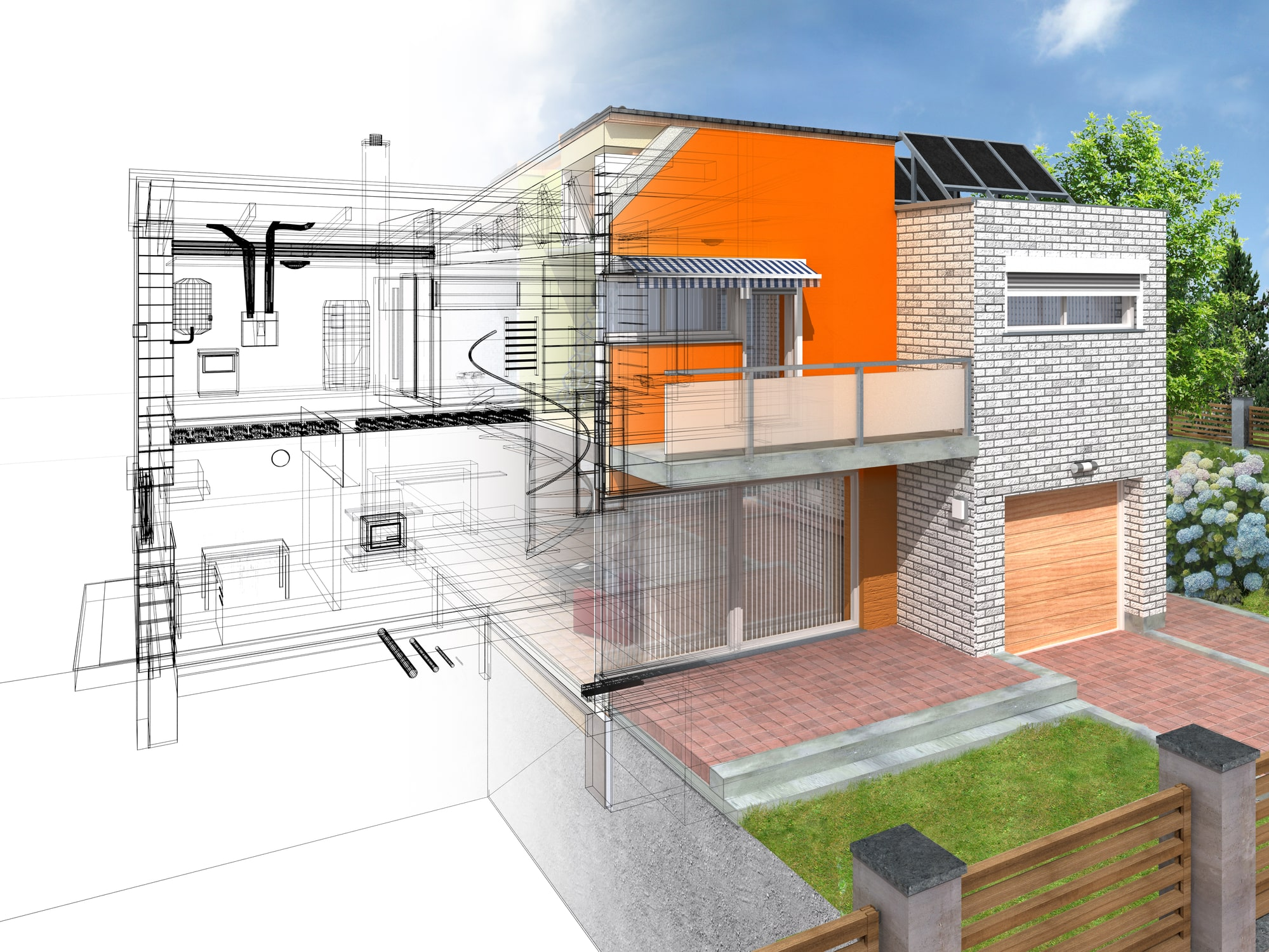 Modern house with planned addition sketch.