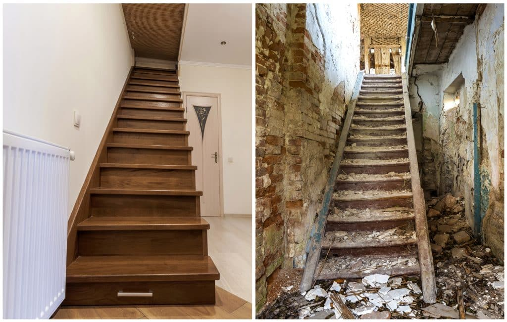 Staircase rennovation before and after.